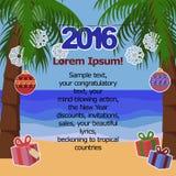 Tropisk bakgrund för nytt år för text med palmträd Arkivbild
