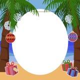 Tropisk bakgrund för nytt år för text med palmträd Royaltyfria Bilder
