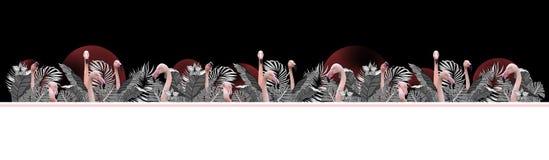 Tropisk bakgrund för rolig och modern sommar med exotiska palmblad och flamingo fotografering för bildbyråer