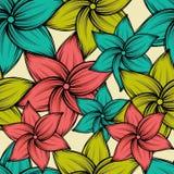 Tropisk bakgrund för sömlös sommar med exotiska blommor, vektorillustration Arkivbild