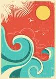 Tropisk bakgrund för tappning med den havsvågor och solen royaltyfri illustrationer