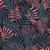 Tropisk bakgrund med palmblad Blom- modell för sömlös djungel Royaltyfri Bild