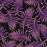 Tropisk bakgrund med palmblad Blom- modell för sömlös djungel S Arkivbilder