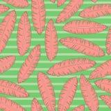 Tropisk bakgrund med palmblad Sömlös blom- modell med banansidor Royaltyfria Bilder