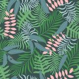 Tropisk bakgrund med palmblad seamless blom- modell Arkivbilder