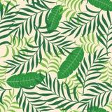 Tropisk bakgrund med palmblad seamless blom- modell Royaltyfria Foton