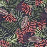 Tropisk bakgrund med palmblad seamless blom- modell S Royaltyfria Bilder