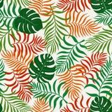 Tropisk bakgrund med palmblad seamless blom- modell S Fotografering för Bildbyråer