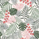 Tropisk bakgrund med palmblad seamless blom- modell S Royaltyfri Bild