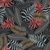 Tropisk bakgrund med palmblad seamless blom- modell S Arkivfoton
