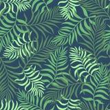 Tropisk bakgrund med palmblad seamless blom- modell S Royaltyfri Foto