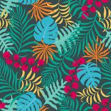 Tropisk bakgrund med palmblad seamless blom- modell Sommarvektorillustration Arkivbild