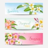 Tropisk baneruppsättning med tropiska blommor Kort med text Royaltyfri Fotografi