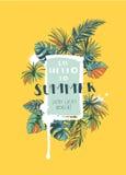 Tropisk blom- sommarpartiaffisch med Palm Beach sidor colo vektor illustrationer