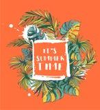 Tropisk blom- sommarpartiaffisch med Palm Beach sidor colo stock illustrationer