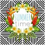 Tropisk blomma- och sidaspegelrunda, geometrisk bakgrund royaltyfri illustrationer
