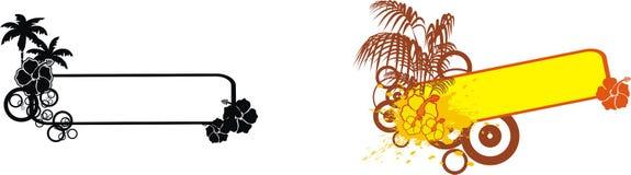 Tropisk blommacopyspaceset Fotografering för Bildbyråer