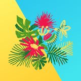 Tropisk blommasammansättning, duotonebakgrund Stock Illustrationer