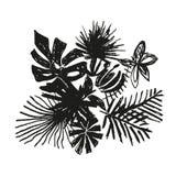 Tropisk blommasammansättning, hand dragen växt Royaltyfri Illustrationer