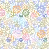 Tropisk blommaträsko för vektor den sömlösa designen med botaniska beståndsdelar för gorgeusen, hibiskus, gömma i handflatan, fåg royaltyfri illustrationer
