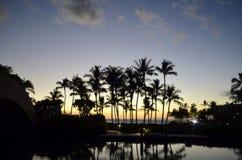 tropisk briljant solnedgång Arkivbild