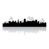 tropisk cityscapesilhouette Fotografering för Bildbyråer