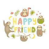 Tropisk design med lycklig väntext för gulliga sengångare royaltyfri illustrationer