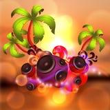 Tropisk diskodansbakgrund med musik och fantasin planlägger beståndsdelar Royaltyfria Bilder