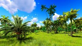 Tropisk djungel under en tolkning för dag 3d Fotografering för Bildbyråer