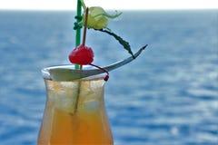 Tropisk drink med frukt och blåtthavbakgrund royaltyfri foto