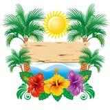 tropisk etikett royaltyfri illustrationer