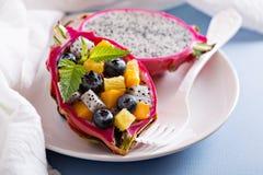 Tropisk exotisk sallad inom en drakefrukt Royaltyfria Foton