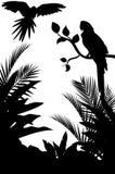 Tropisk fågelsilhouette med skogbakgrund Stock Illustrationer