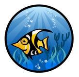Tropisk fisktecknad filmillustration Vektor Illustrationer