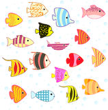 Tropisk fiskuppsättning för tecknad film Royaltyfri Foto