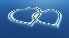 Tropisk formad ö för förälskelse hjärta Fotografering för Bildbyråer