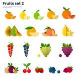 Tropisk frukt för sunt begrepp på vit bakgrund Royaltyfria Bilder