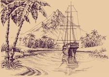 Tropisk golf och fartyg vektor illustrationer