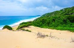 Tropisk havsikt i den Mocambique kustlinjen Arkivfoto