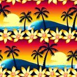 Tropisk hibiskus och palmträd på den sömlösa modellen för solnedgång stock illustrationer