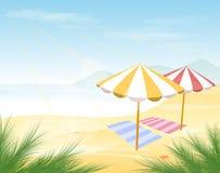 Tropisk illustration för strandbakgrundsvektor vektor illustrationer