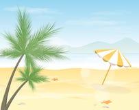 Tropisk illustration för strandbakgrundsvektor royaltyfri illustrationer