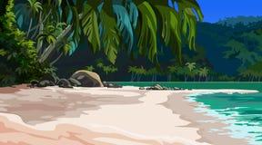 Tropisk kust för landskap royaltyfri illustrationer