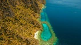 Tropisk lagun för flyg- sikt, hav, strand tropisk ö Busuanga Palawan, Filippinerna Royaltyfri Bild
