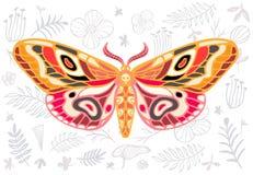 Tropisk malhawkmoth för natt på blom- bakgrund, fjäril ve vektor illustrationer