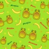 Tropisk modell för sömlös färg med solglasögon och bananer vektor illustrationer