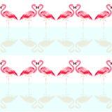 Tropisk modell för sömlös sommar med den gulliga flamingofågeln royaltyfri illustrationer