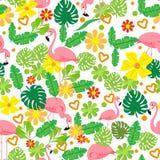 Tropisk modell för sömlös sommar med flamingo, exotiska blommor, sidavektorbakgrund Goda för tapeter, webbsidabakgrund royaltyfri illustrationer