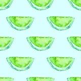 Tropisk modell för sömlös vattenfärgkiwi Exotisk bakgrund för grön limefruktfrukt Arkivbilder