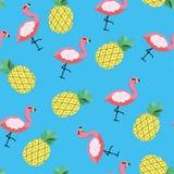 Tropisk modell för sömlös vektor med ananas och flamingo fotografering för bildbyråer